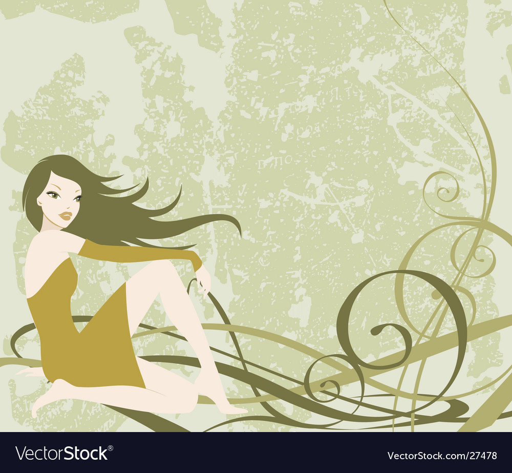 Grunge girl background vector
