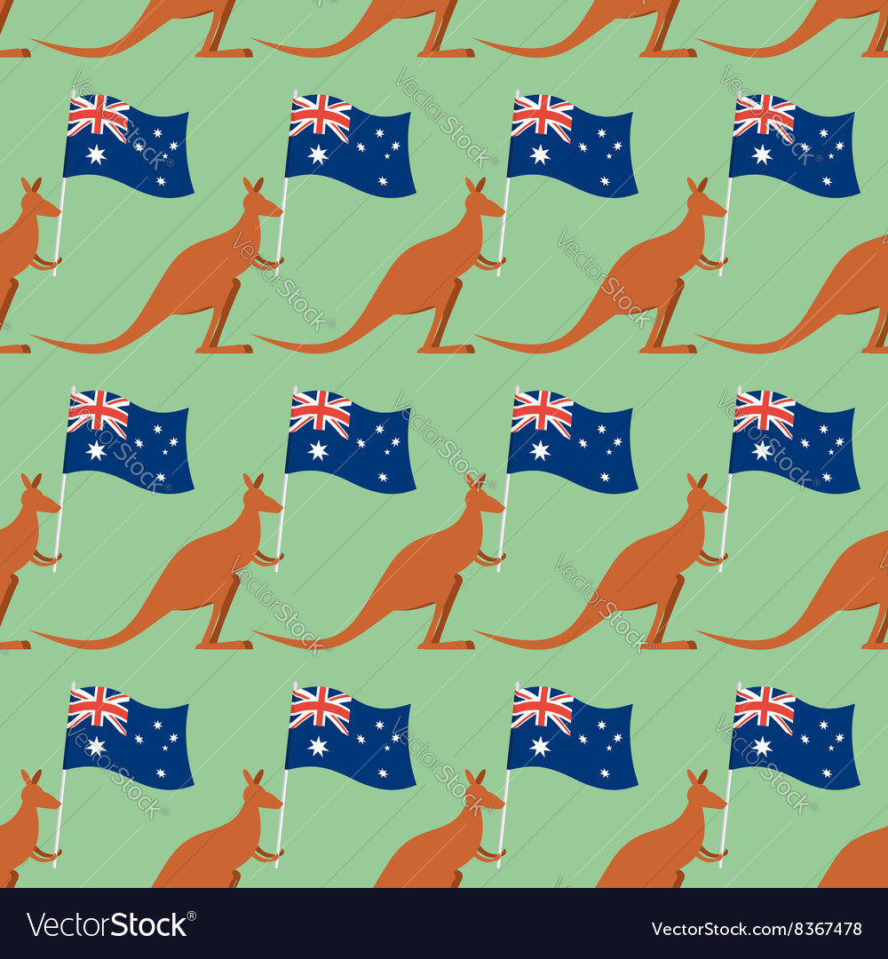 Kangaroos and australian flag seamless pattern vector