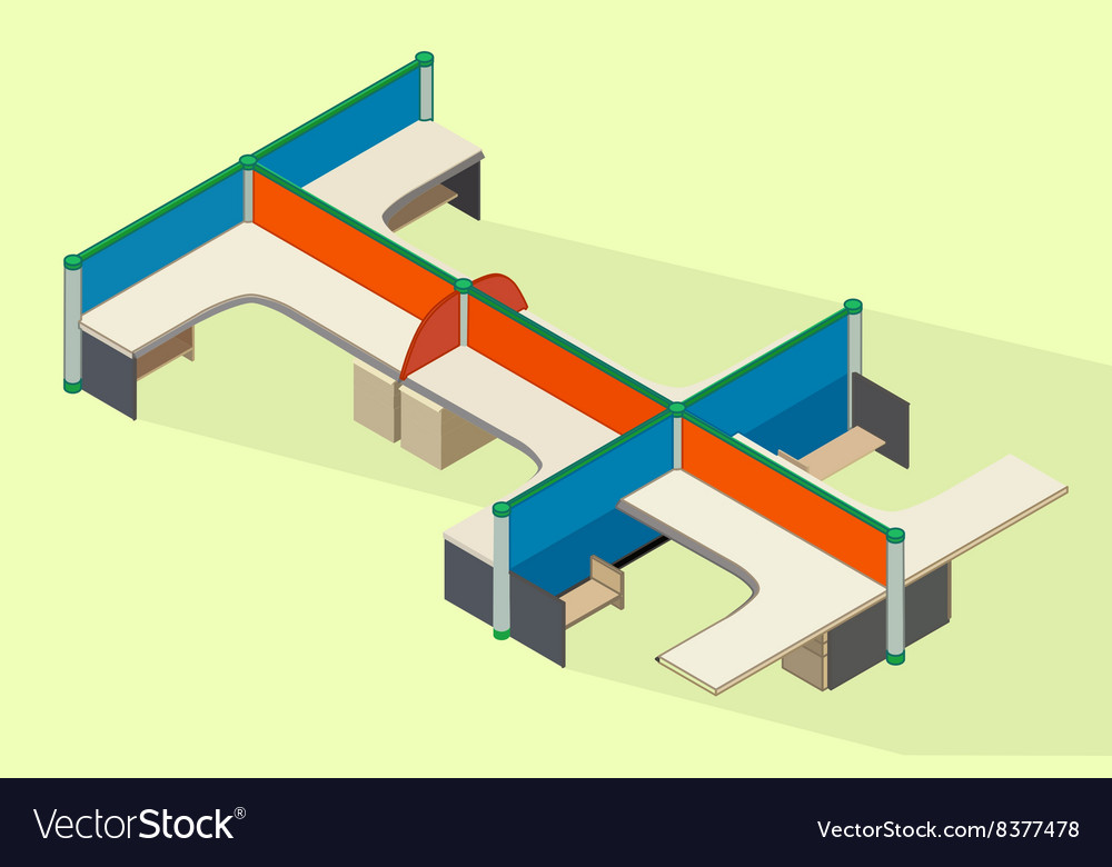 Office furniture workspace isometric flat vector