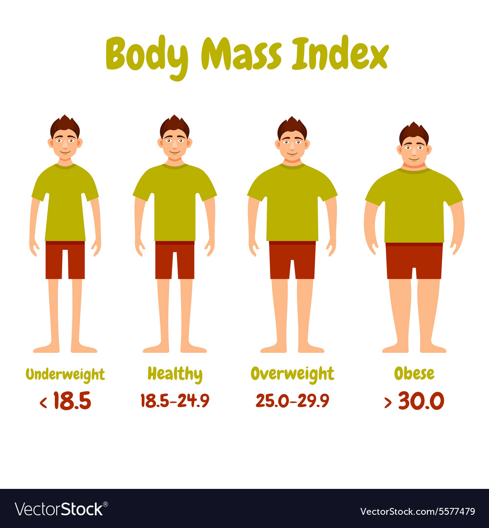 Body mass index men poster vector