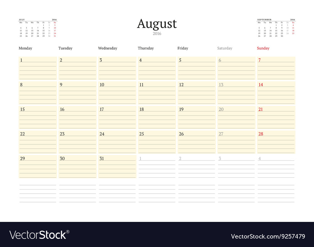Calendar template for august 2016 week starts vector