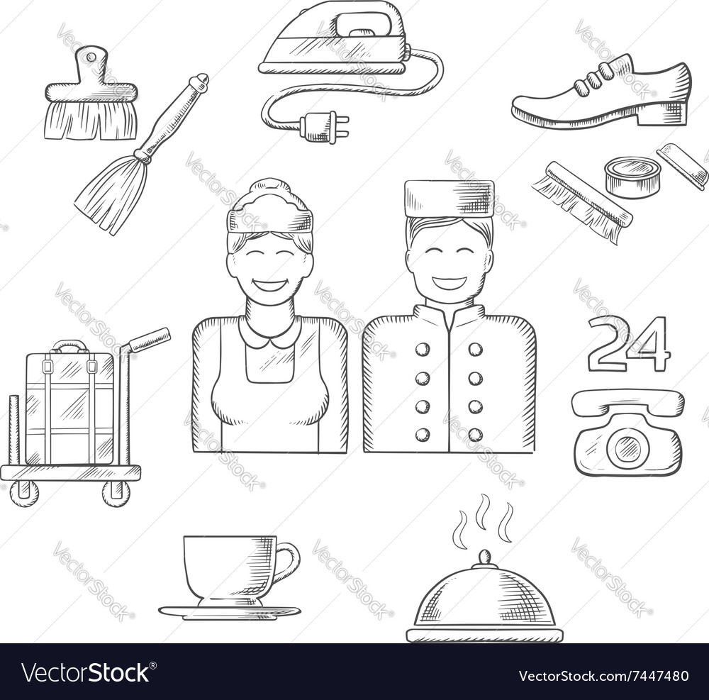 Hotel service icons and symbols vector