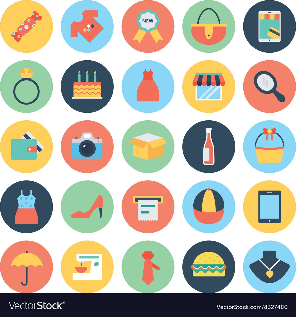 Shopping icons 3 vector
