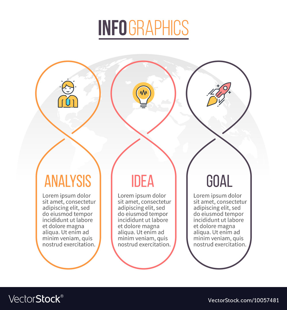 Business infographics timeline with 3 parts vector