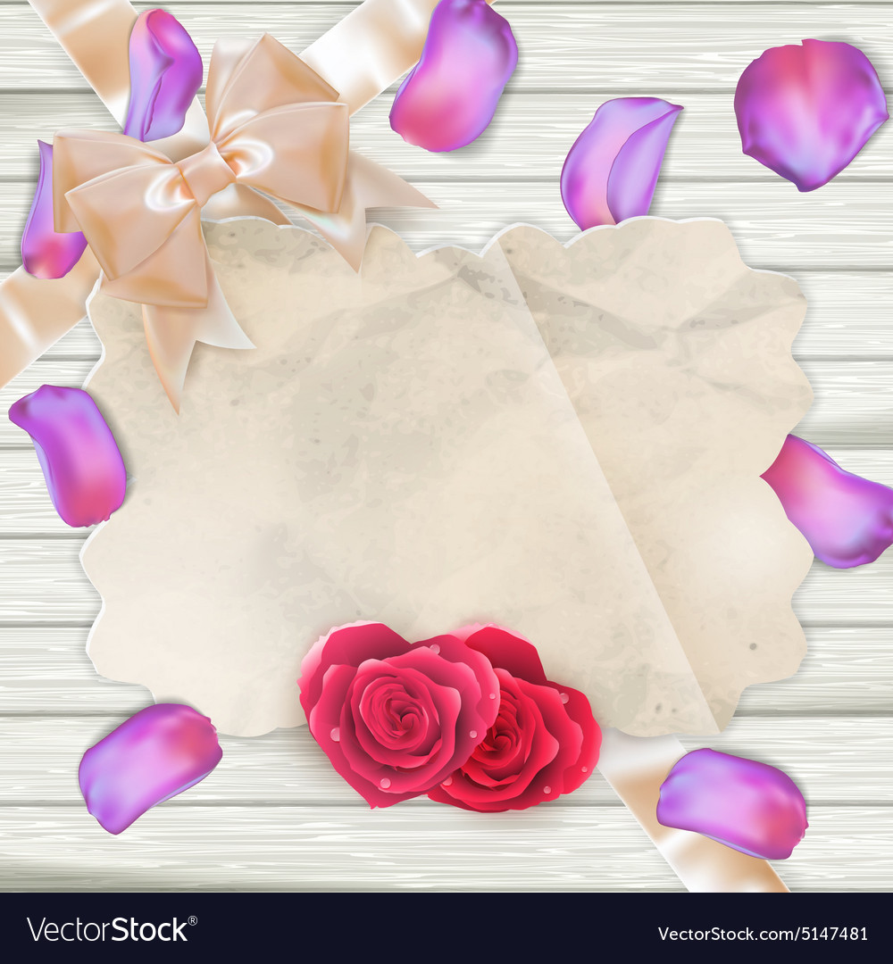 Fresh tulips petals and card eps 10 vector