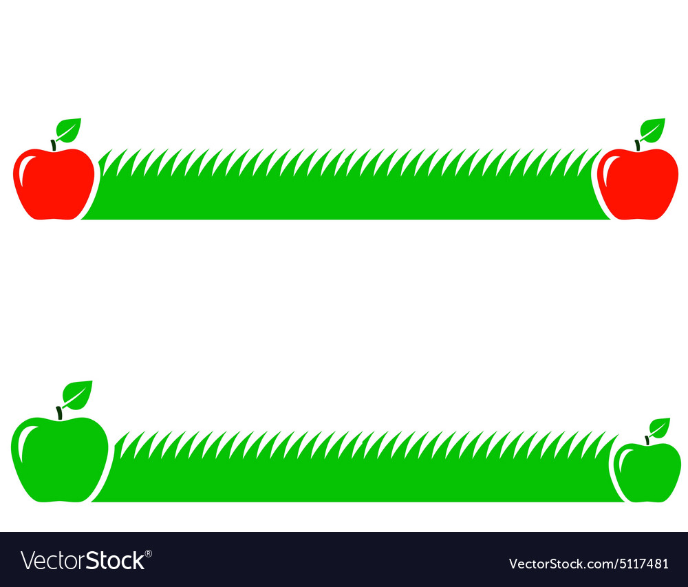 Natural background with green grass and apple vector