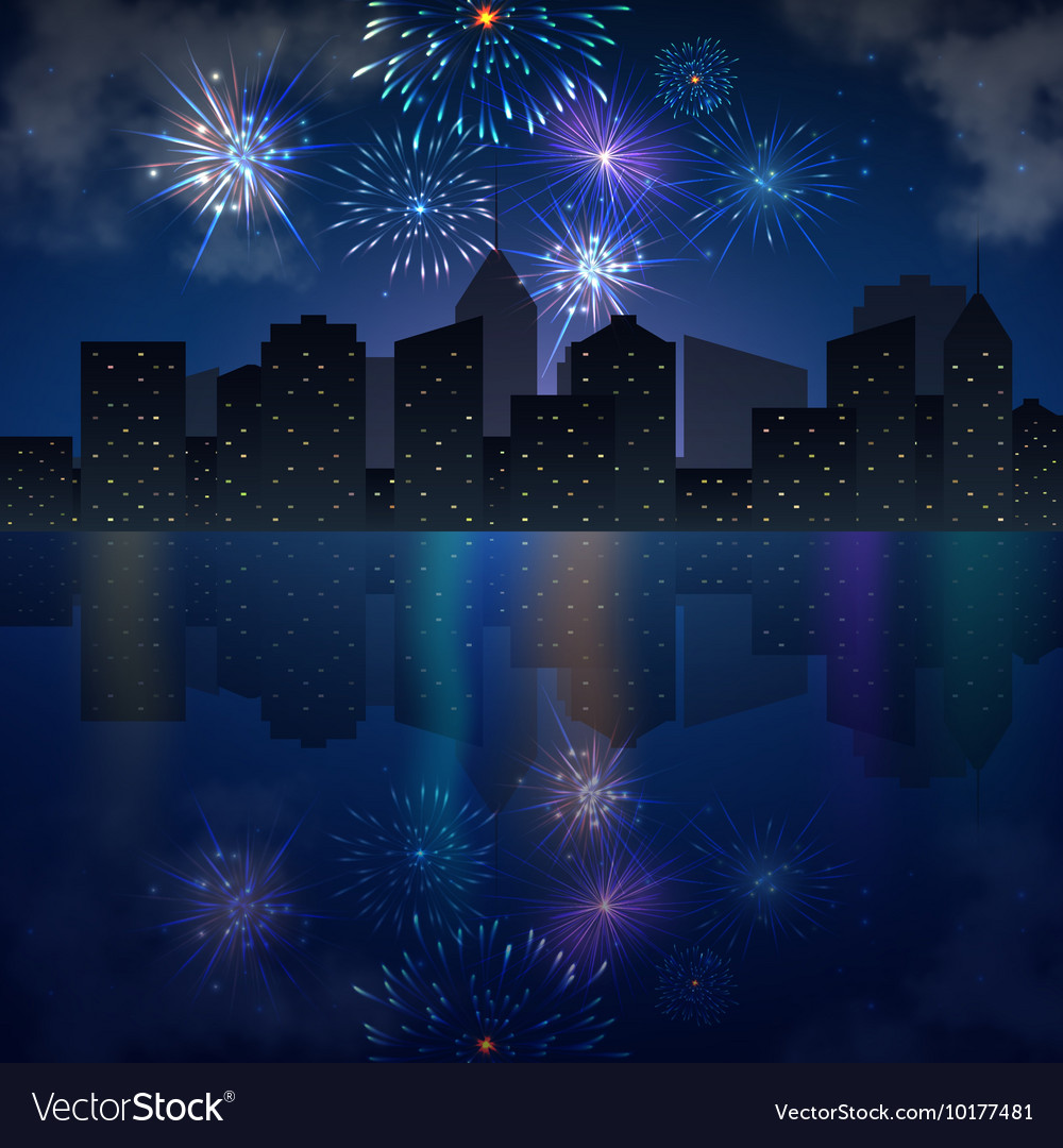 Night city skyline with river and fireworks vector