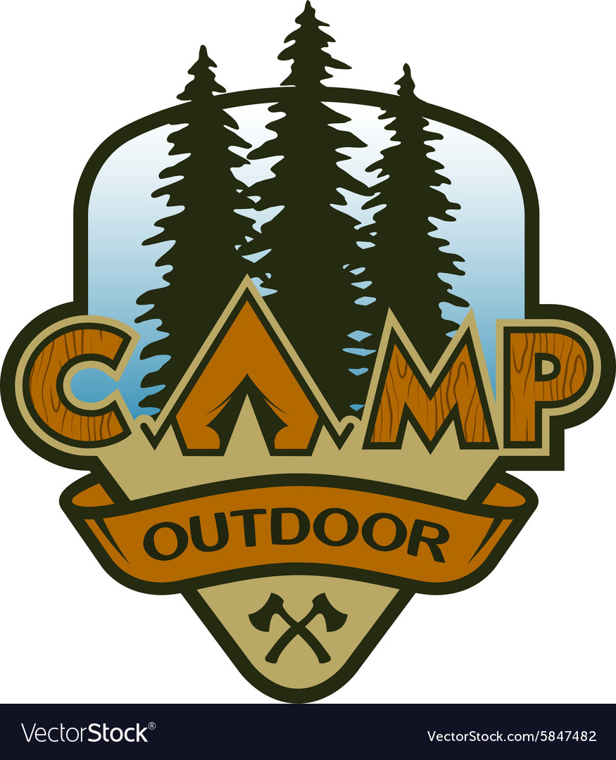 Camp outdoors hiking and traveling vector