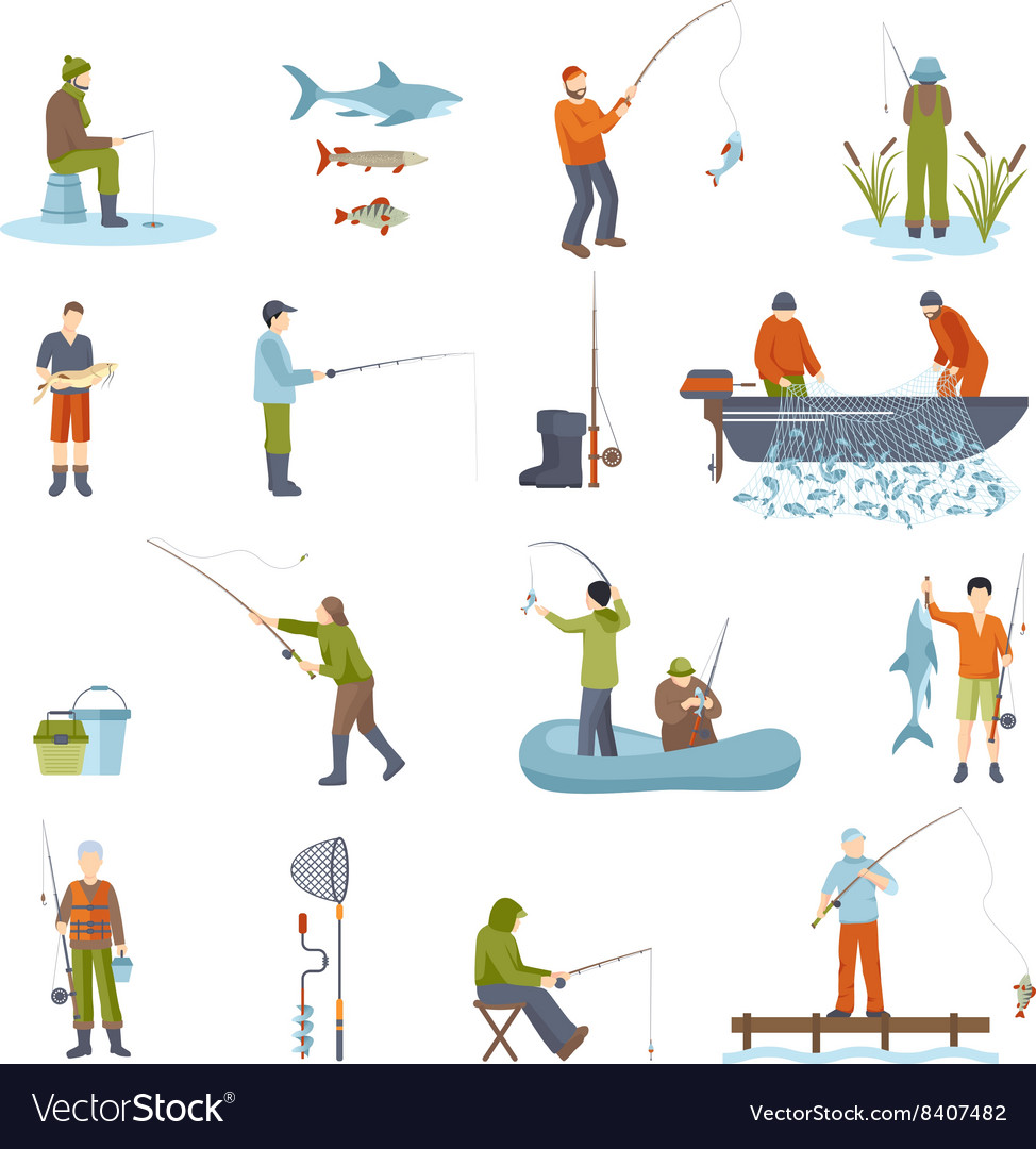 Fishing people fish and tools icons set vector