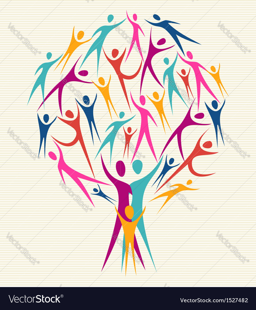 Human family colorful tree vector