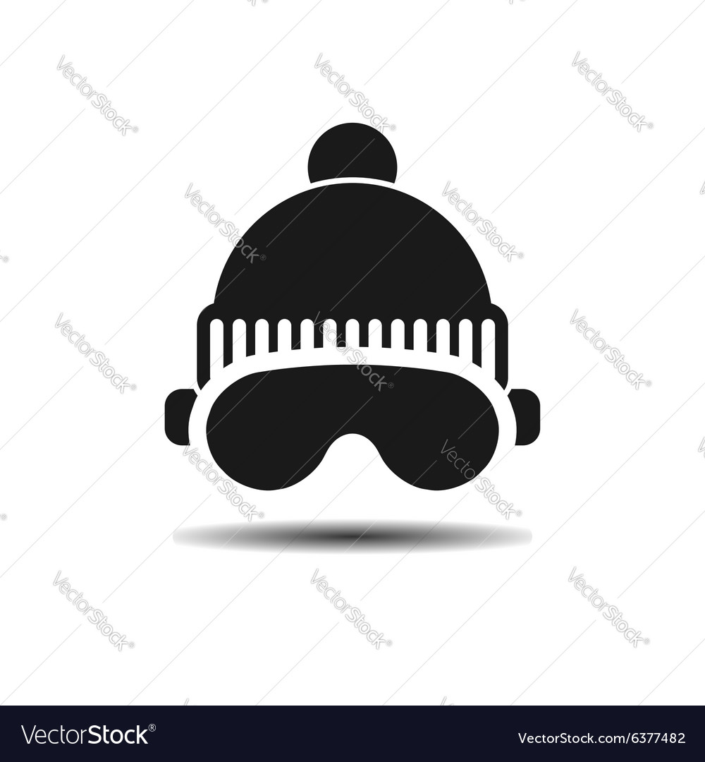 Icon ski cap and glasses with shadow vector