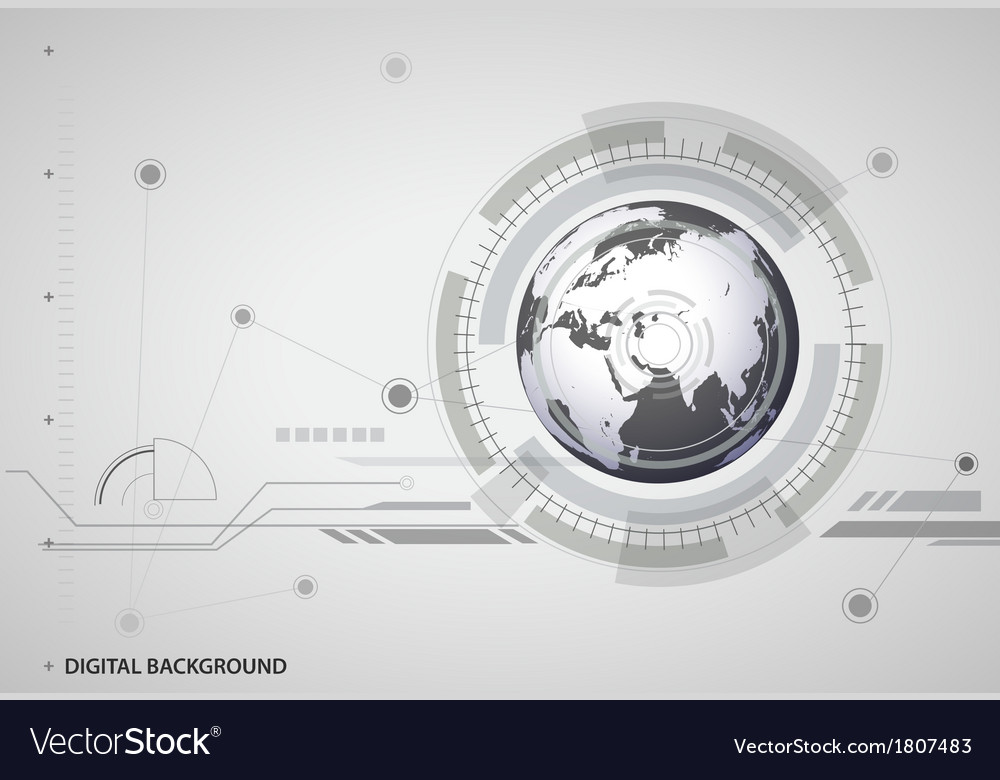 Abstract hitech digital global background vector