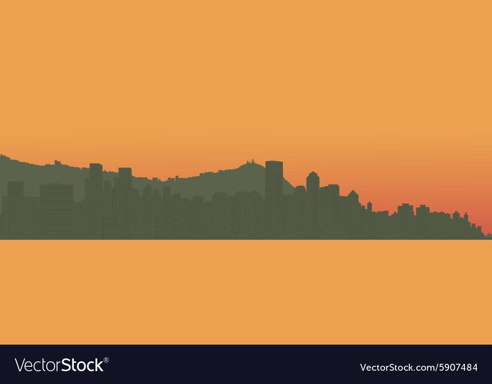 Contour of the big city on an ocean coast vector