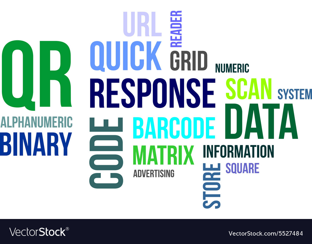 Word cloud qr code vector