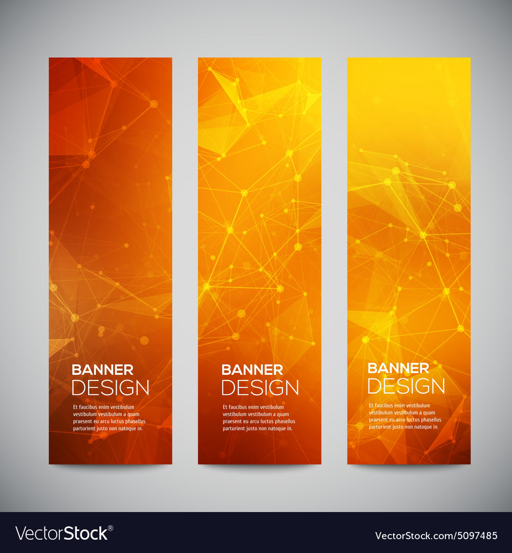 Vertical banners set with polygonal vector