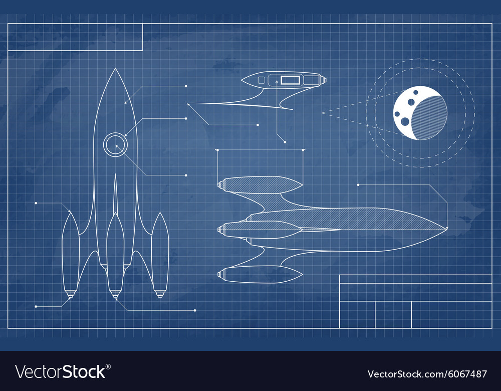 Blueprint of the spaceship vector