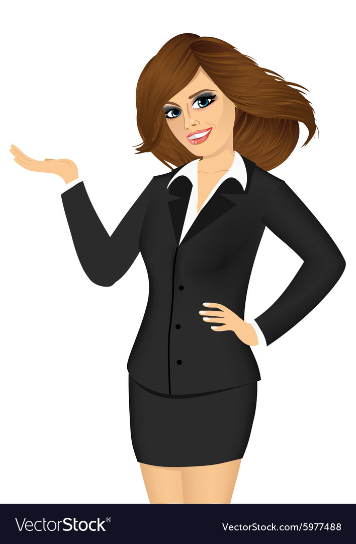 Friendly business woman showing something vector
