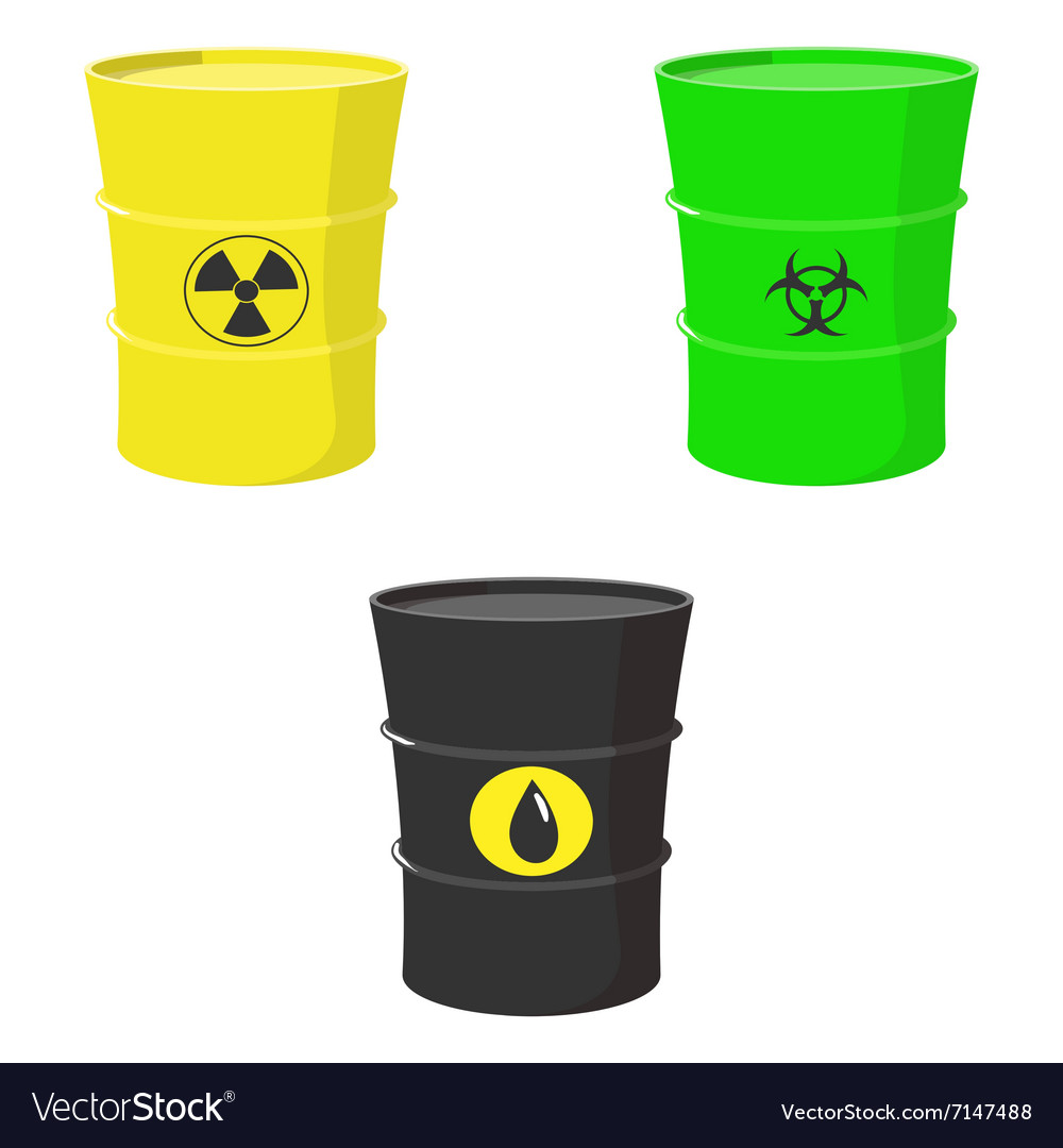 Set barrels oil toxic and nuclear waste vector