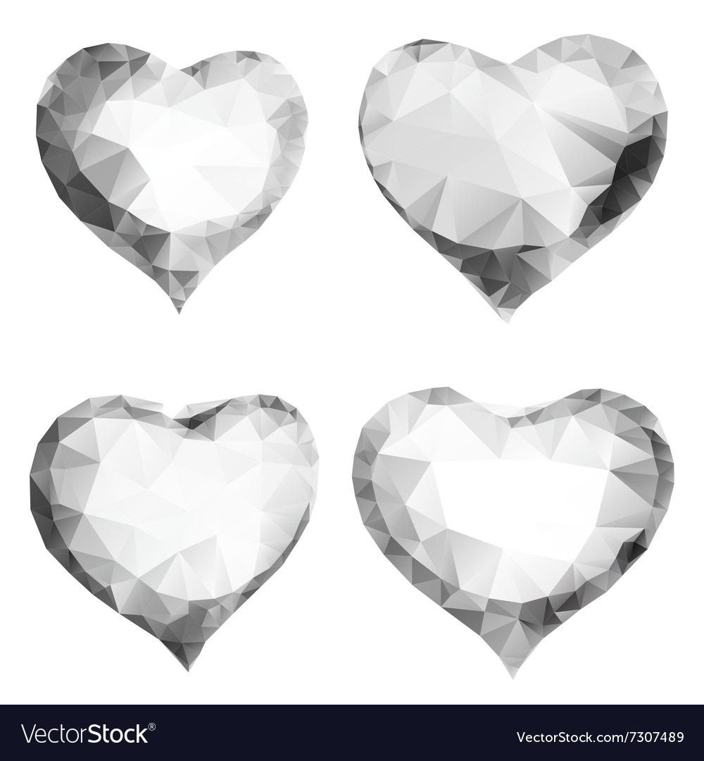 Glass or diamond hearts of triangles vector