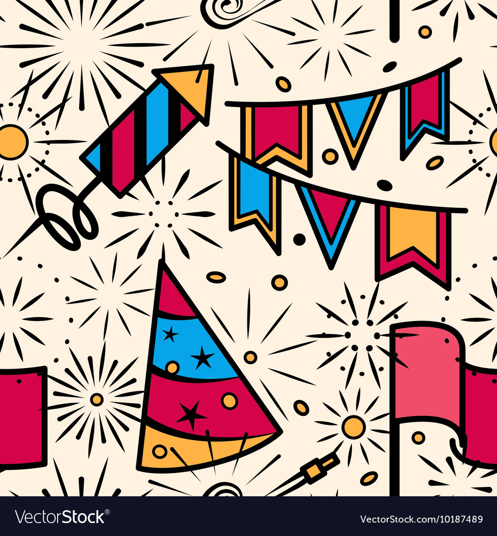 Party celebration with fireworks seamless pattern vector