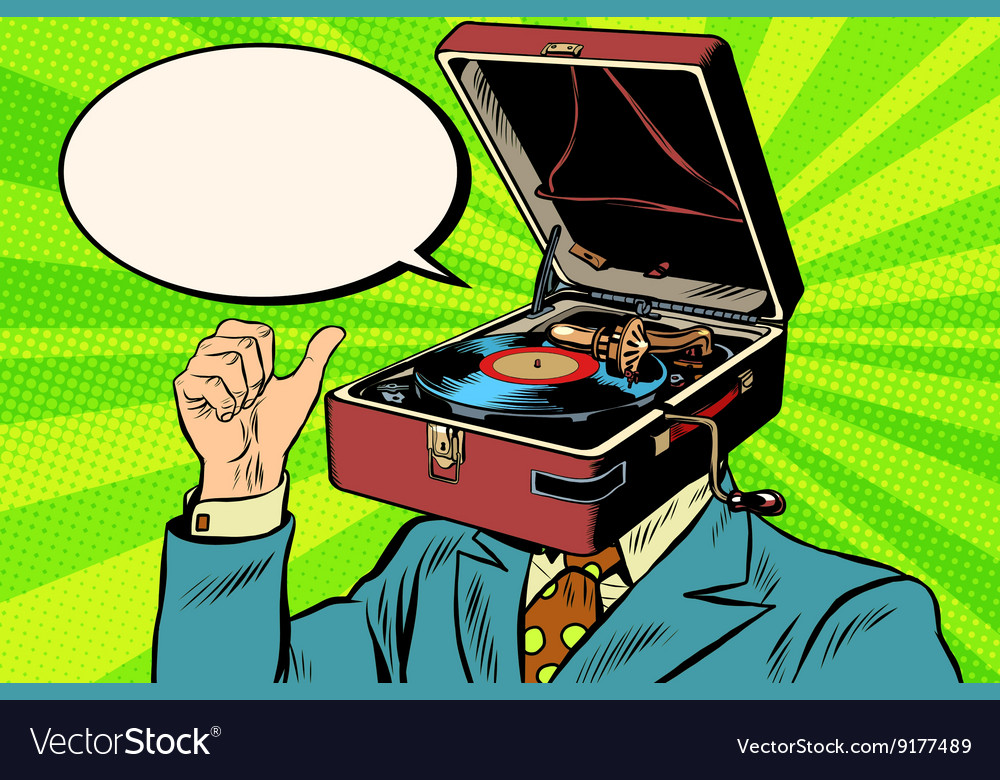 Retro lover music man gramophone phonograph vector