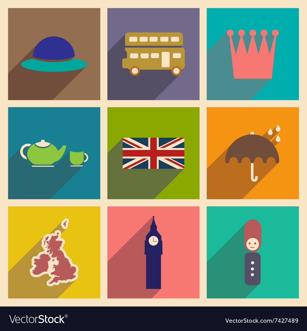 Set of flat icons with long shadow united kingdom vector