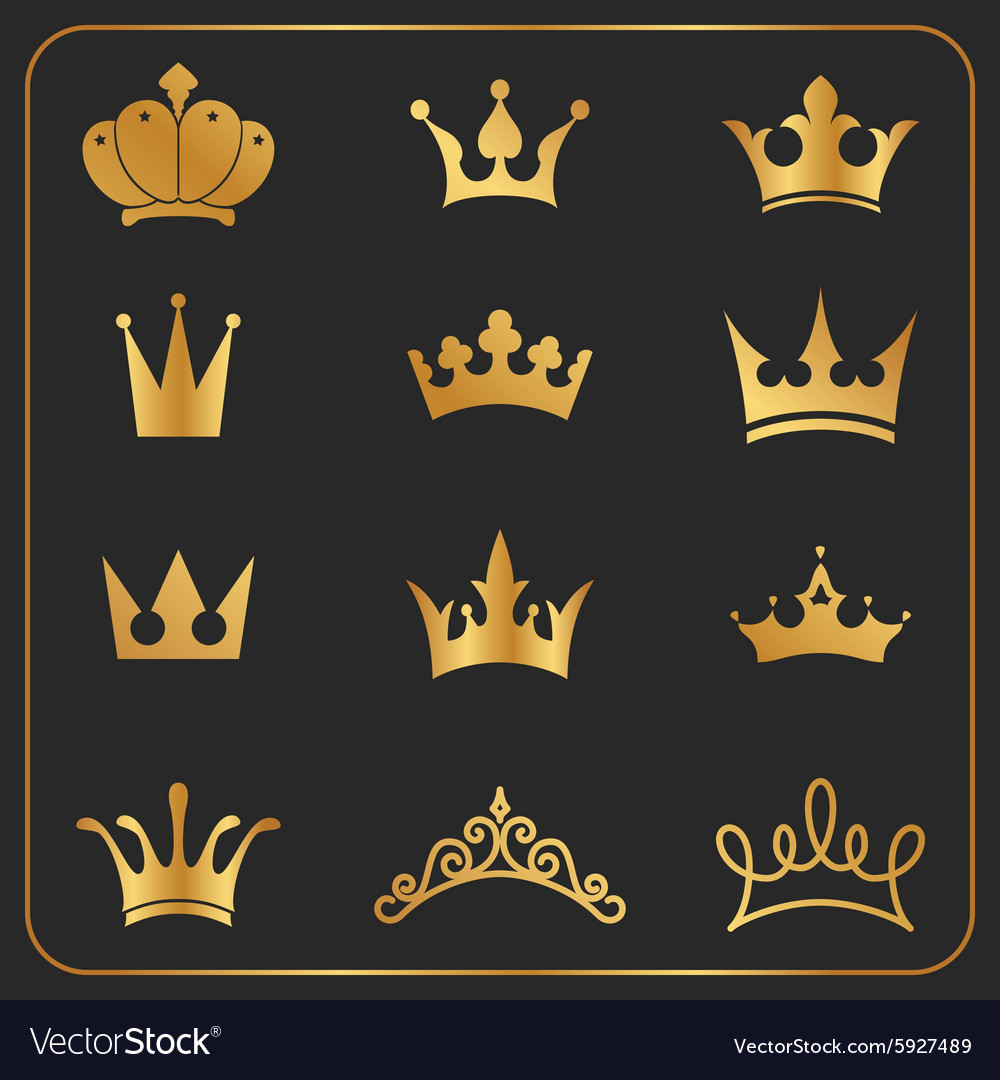 Twelve different crowns icon element vector