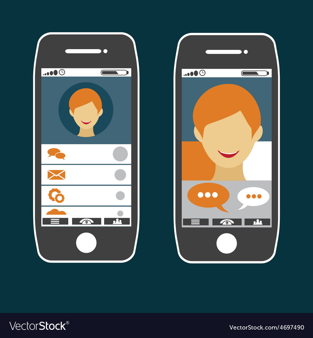 Flat design of smart phone application with young vector