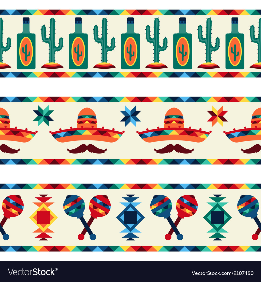 Mexican seamless borders with icons in native vector