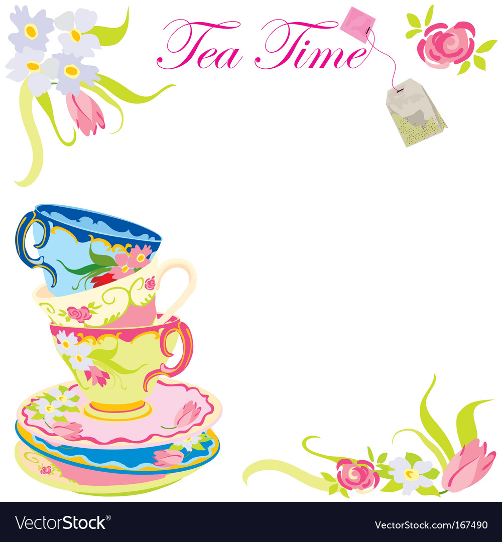 Tea time party vector