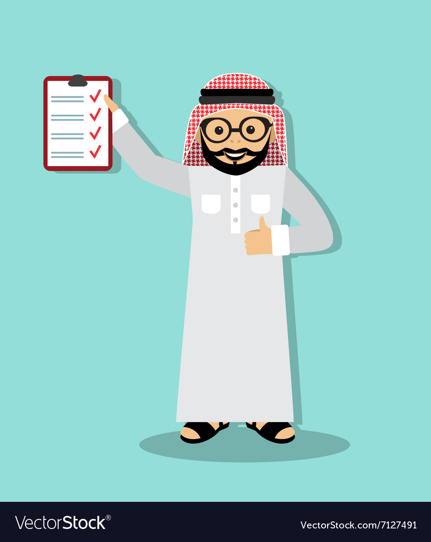 Arabic businessman executed business plan vector