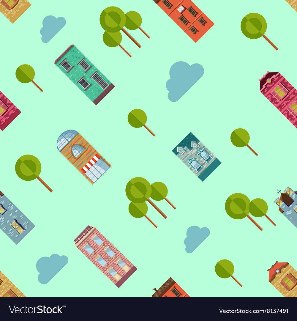 Bright urban houses and trees background vector
