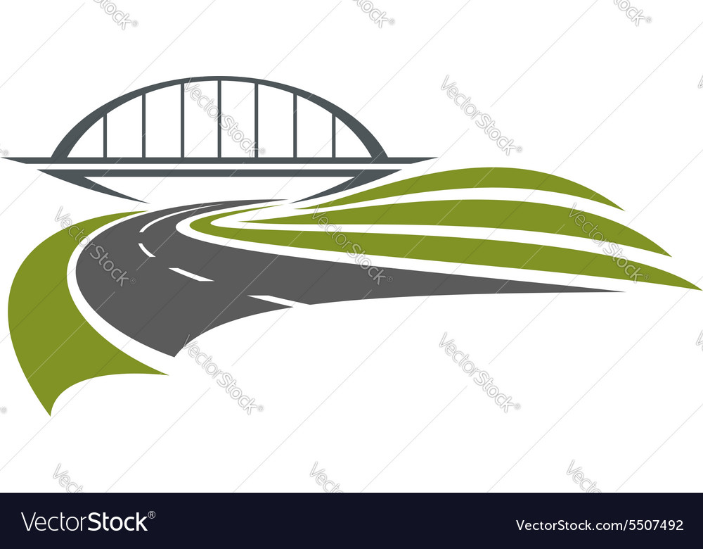 Road under the railway bridge vector