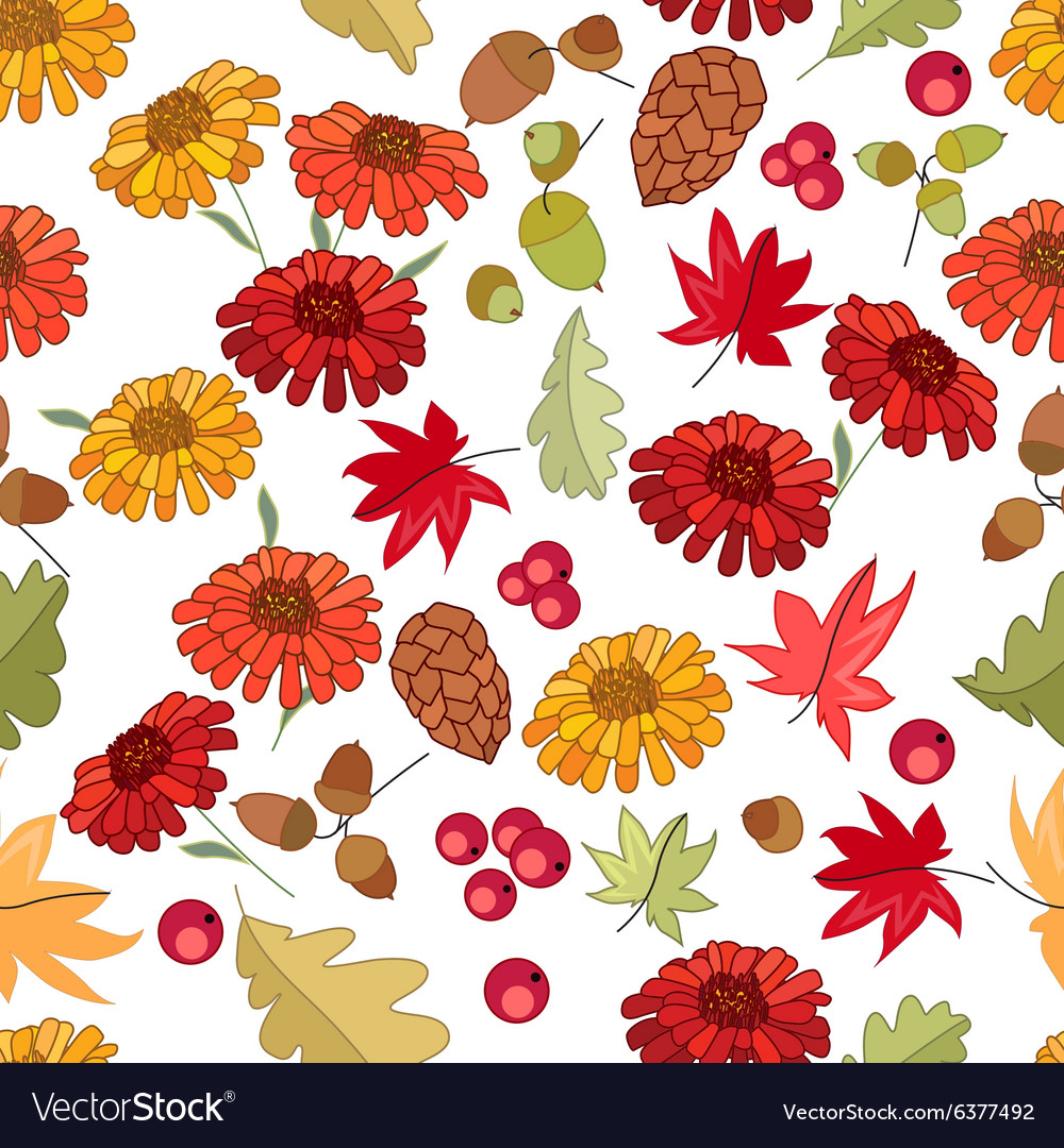 Seamless autumn pattern with red maple leaves vector