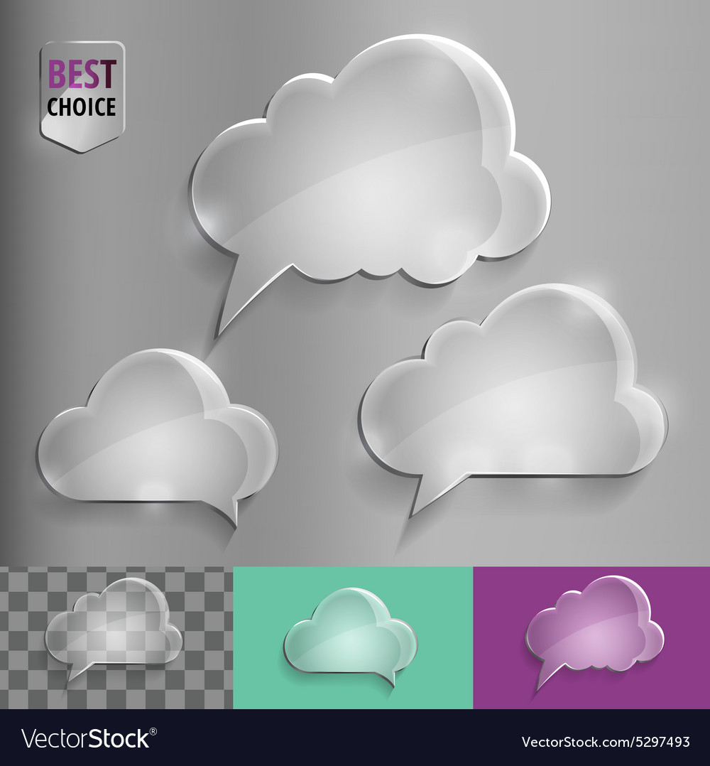 Three types of glass speech bubble cloud icons vector