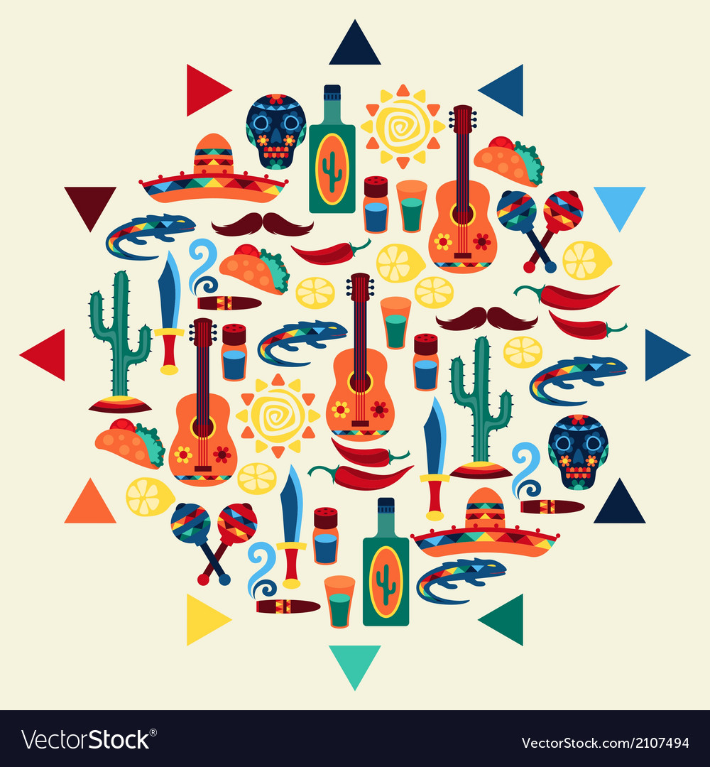 Mexican background style vector