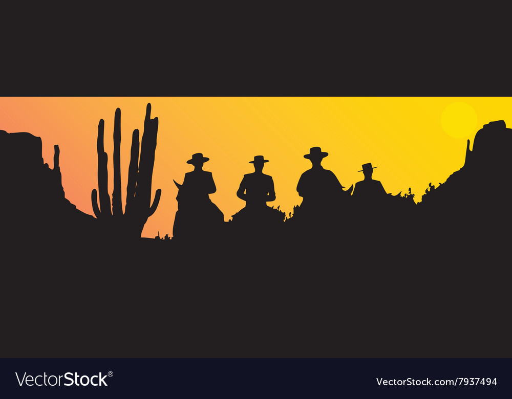 Mexican riders at sunset vector