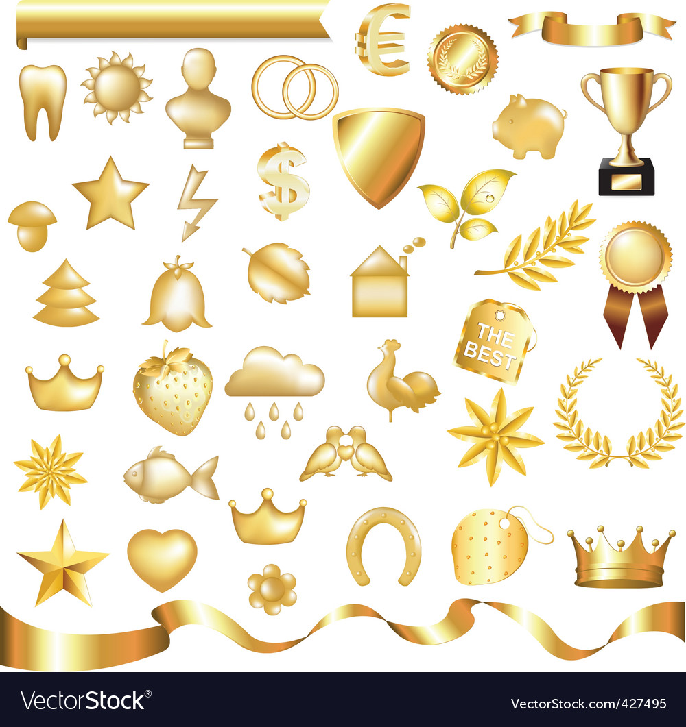 Gold set vector
