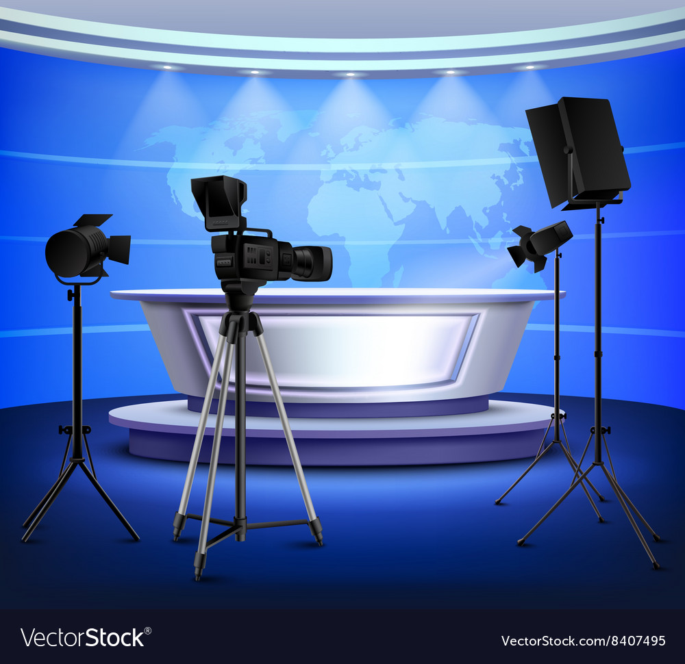 Realistic blue news studio interior vector