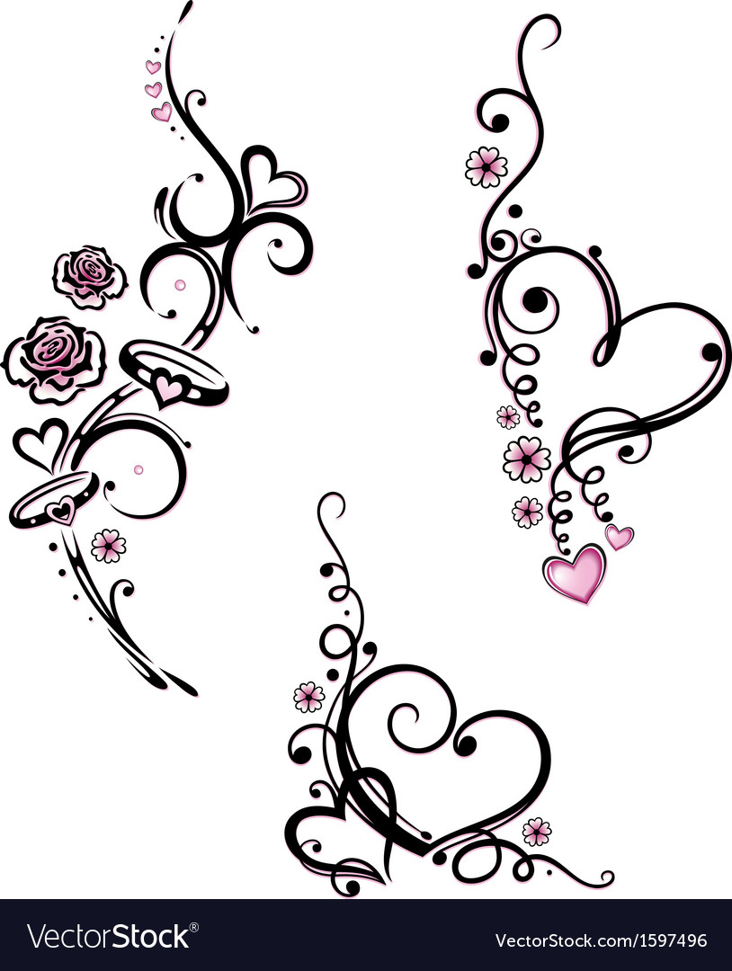 Hearts rose rings vector