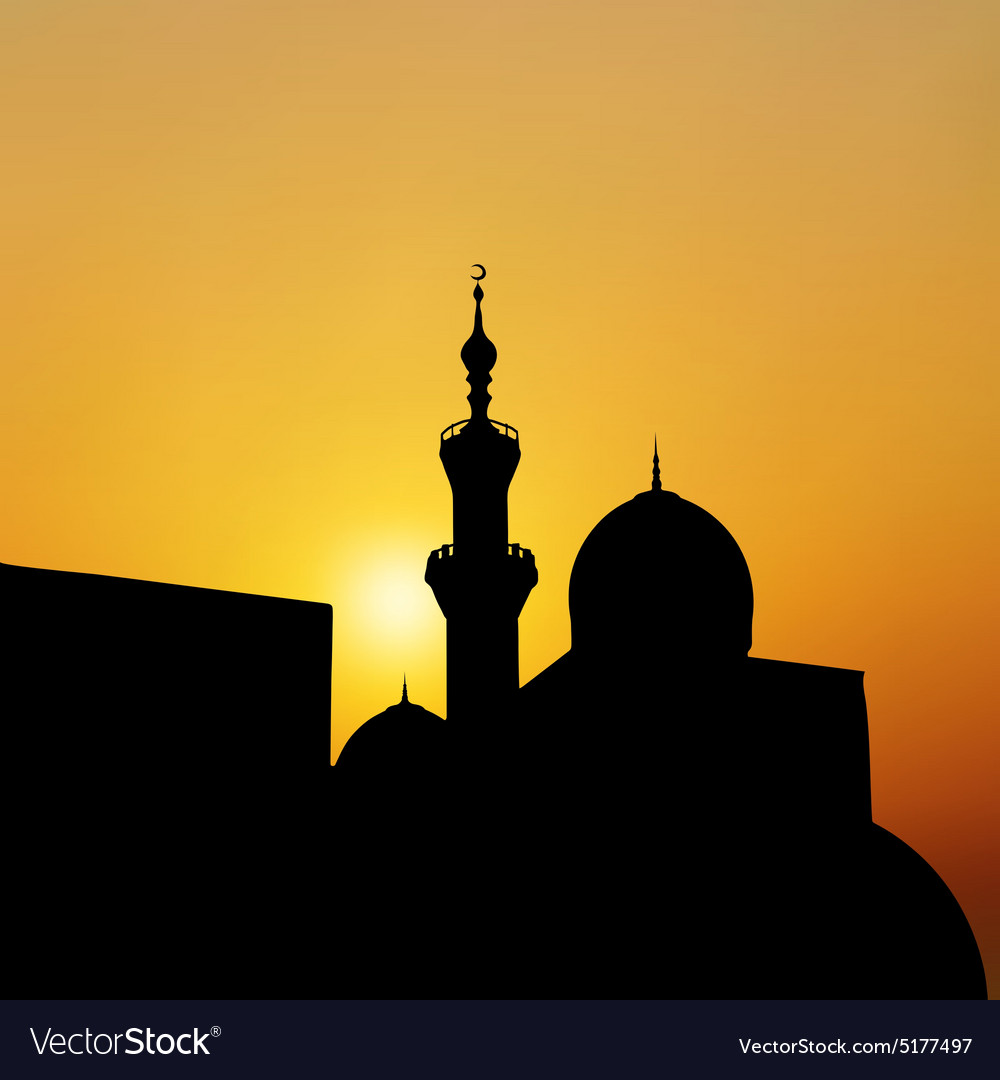 Sunset mosque landscape with beautiful mosques vector