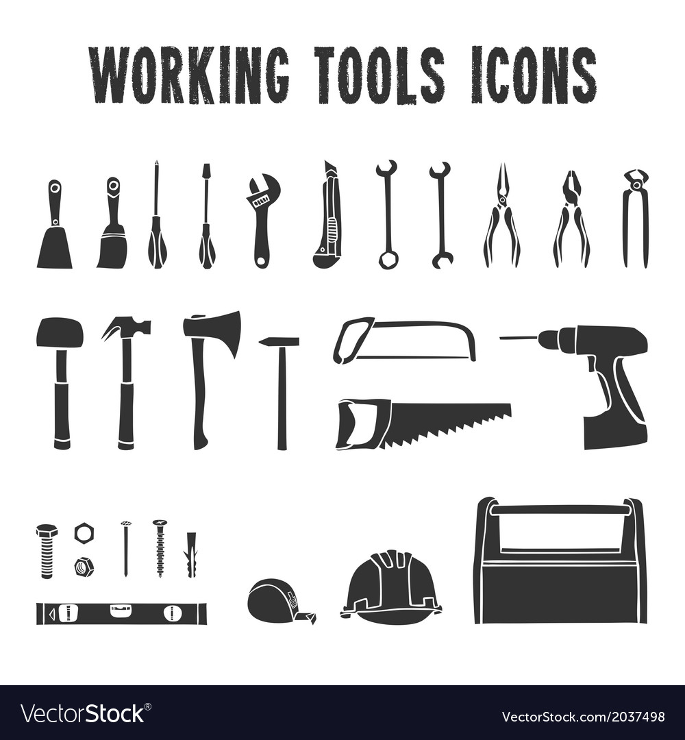 Working tool box icons set vector