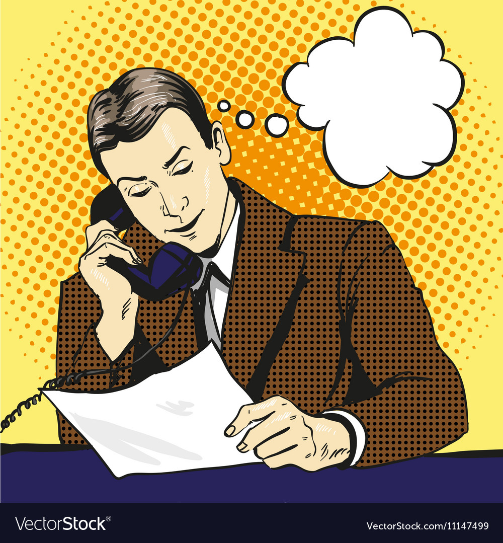 Businessman talking by phone and reading documents vector