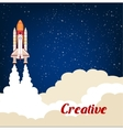 Creative poster with rocket srart launch vector image