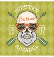 Vintage True bearded Hipster skull with vector image
