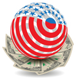 usa globe with cash vector image vector image
