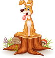 Cartoon dog sitting with tongue out on tree stump vector image