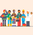 a group of people of different professions on an vector image
