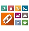 Flat colorful food icons vector image
