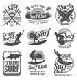 surfing club vintage emblems surf board on vector image